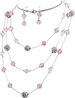 Bocar New Beautiful Fashion 3 Layer Handmade Beads Necklace Earring Set Long Illusion Necklace for Women