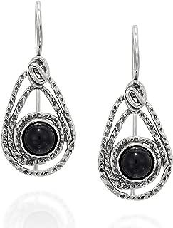 Stera Jewelry Choice of Gemstone 925 Sterling Silver Teardrop Earrings with Secure Closure Backs