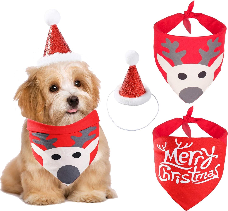 Dog Christmas Bandana Santa Hat Reversible Ranking TOP13 Triangl Set Scarf Spasm price