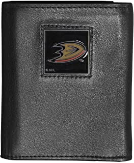 NHL Anaheim Ducks Deluxe Leather Tri-Fold Wallet Packaged in Gift Box, Black