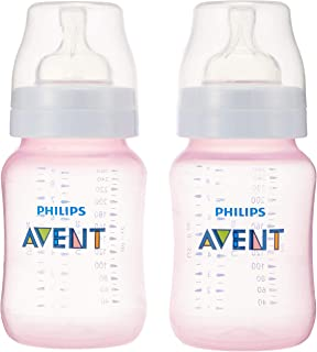 Philips Avent Classic Plus Slow Flow Baby Bottle Pink, 260 ml, 2 Pack, SCF564/62