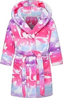 Betusline Girls Bathrobe Soft Fleece Robe with Pockets, 12 Months - 18 Years