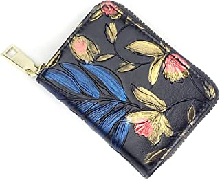 Women RFID Blocking Credit Card Holder Leather Cute Small Zipper Wallet