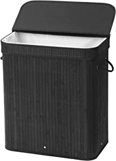 SONGMICS Bamboo Laundry Hamper, 100L Foldable Storage Basket, Dirty Clothes Bin Box with Lid, Handles, Removable Liner, Rectangular, Black ULCB63H