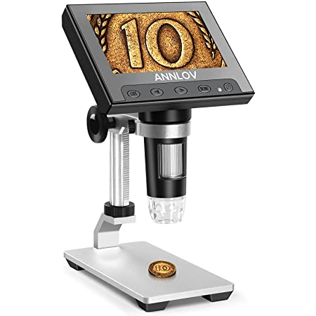 LCD Digital Microscope,ANNLOV 4.3 inch Handheld USB Microscope 50X-1000X Magnification Coin Microscope Video Camera with 8 Adjustable LED Lights for Adults PCB Soldering Kids Outside Use