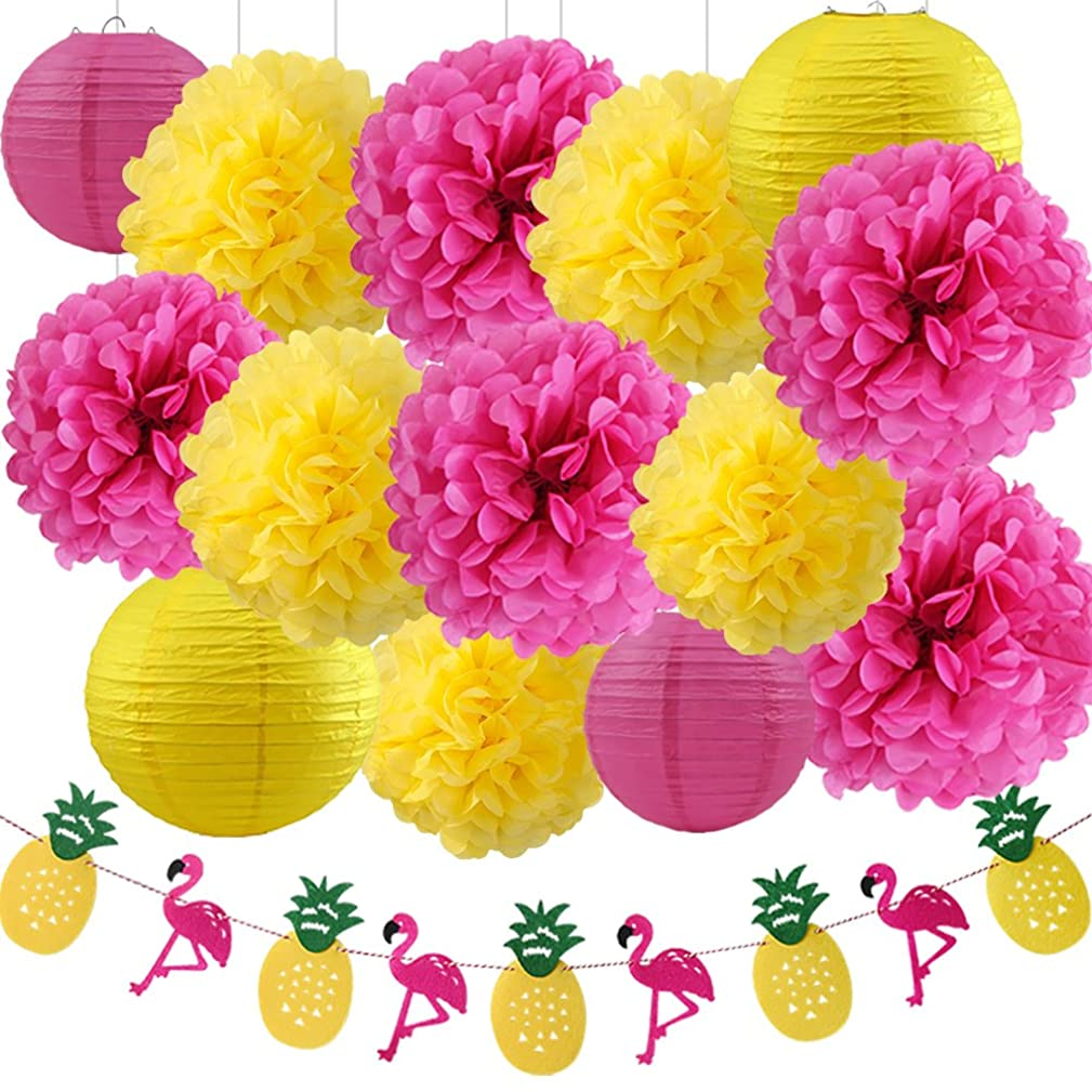 Wcaro Big Kit Luau Party Hawaiian Decorations Luau Party Supplies Pineapple Decorations Tissue Paper Pom Paper Lanterns Flamingo Pineapple Banner Paper Flower For Summer Party Supplies
