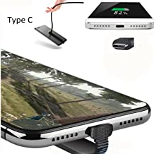 BECROWMUS USB Type C Charge Cable, 3.3ft Flat 180 Degree Angle Phone Game Design USB C Charging Cord for Samsung S8 Note 8, LG V20 G6 G5, Google Pixel and More USB C Port Devices