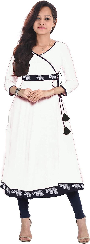Lakkar Haveli Long Dress Animal Print Women's White Color Kurti Casual Tunic Party Wear Frock Suit Plus Size