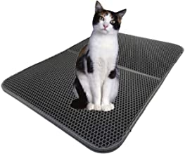 Ronin Pet Cat Litter Mat Foldable Trapping Extra Large Size Small Plastic Cloth Scatter Control 2-Layer Black Hole Catcher Carpet Jumbo Gorilla Grip Corner Sifting Rubber Foam for Kittens