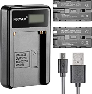 Neewer® Cargador de batería Micro USB + 2 baterías de Repuesto de 2600 mAh NP-F550/570/530 para Sony HandyCams Neewer Nanguang CN-160 CN-216 CN-126 LED Light Polaroid On-Camera Video Lights