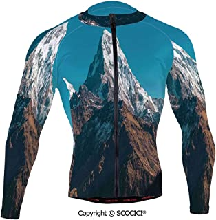 Cycling Jersey Long Sleeves Men,Photo of Himalayan Mountains Snowy Peak Nepal So