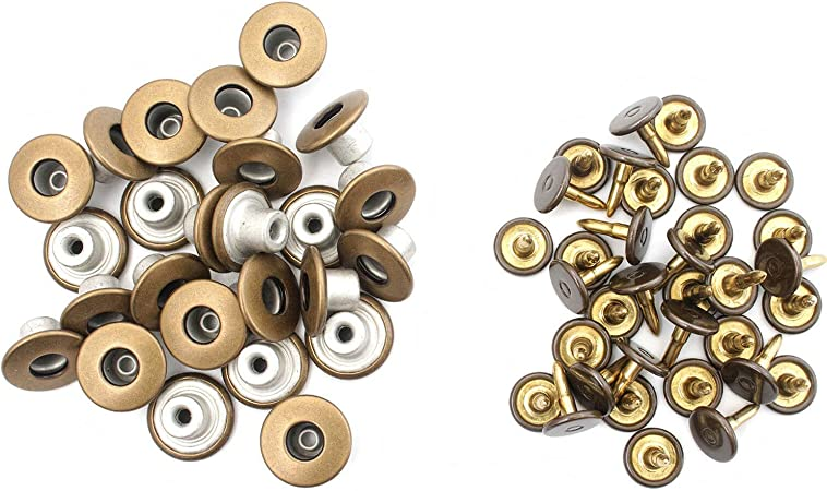 10pcs 17mm Leatherwear Fashion Clothing Gold Jackets WedDecor Metal Jeans Buttons Replacement Fixing Fasteners with Back Pin for Repair Denim Pants