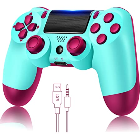 YU33 Wireless Remote Controller Compatible with Playstation 4 System, for PS4 Console with Two Motors and Charging Cable, Great Gamepad Gift for Girls/Kids/Man(BerryBlue mando,2021 New Model Joystick)