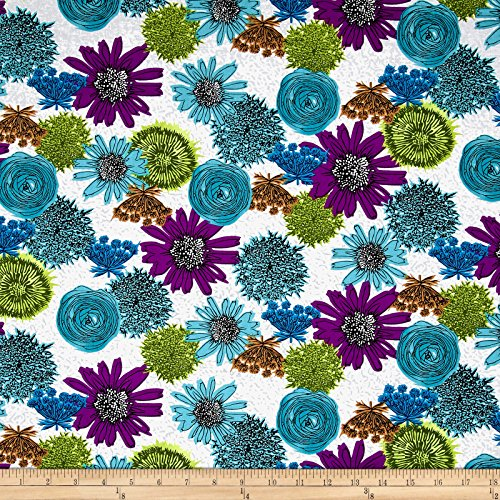 Makers Home Multi Flower Turquoise Fabric By The Yard
