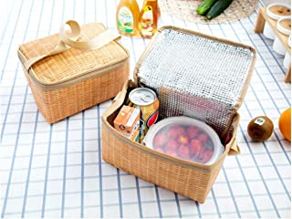 Rubik Insulated Thermal Lunch Bag for Hot and Cold Food, Waterproof Imitation Rattan Design, Suitable For Men Women Kids A...