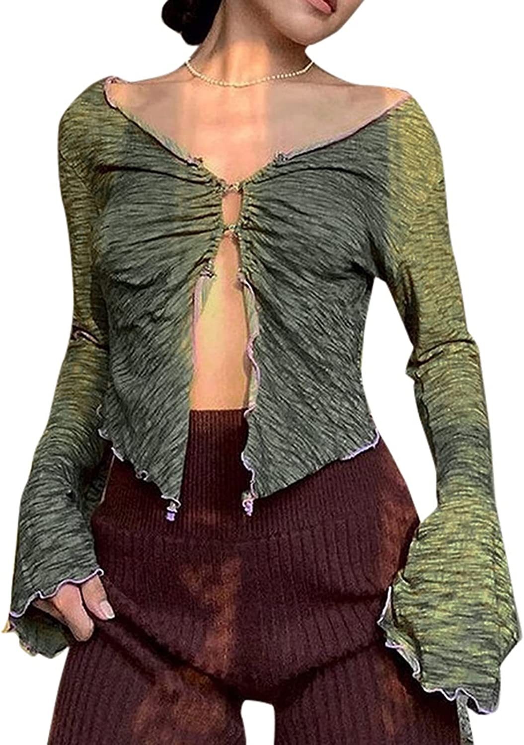 Womens Long Sleeve Y2k Cropped Cardigan Top Button V Neck Vintage Knitted Sweaters Open Front Loose E-Girls Knitwear Coat