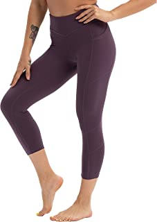 Women's 3/4 Workout Legging Crop Yoga Pants Tummy Control Sports Tights Outer Pocket