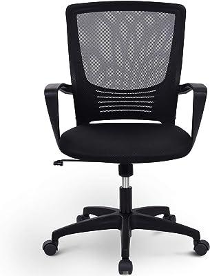Merax Silla de oficina, silla de escritorio, silla de oficina, silla de oficina giratoria con respaldo, giratoria, altura regulable, reposabrazos y soporte ergonómico para la cintura, color negro