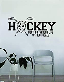 ROTE Hockey Don't Go Through Life Without Goals Wall Decal Quote Home Room Decor Decoration Art Vinyl Sticker