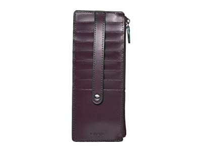 Lodis Accessories Audrey RFID Card Case With Zip Pocket (Deep Plum/Ivy) Credit card Wallet