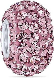 Cristallo Distanziatore Perlina 925 Argento Sterling Adatto Europeo Braccialetto Di Fascino Per Le Donne