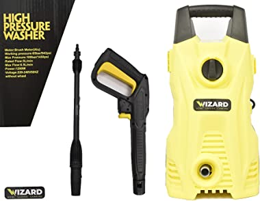 Wizard 1450psi High Pressure Washer | 1200w Electric Power Washer Cleaner Machine | Portable Power Washer Car Kit Cleans Fenc
