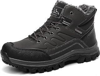 YQY Hommes d'hiver Bottes de Neige, Doublure imperméable Chaussures de randonnée Bottes Chaud et imperméable en Peluche Ma...
