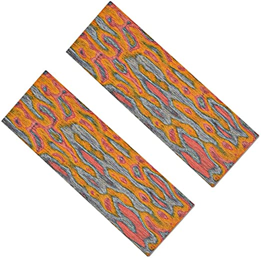 Aibote 1 Pair 3D Color Flame Pattern Knife Handle