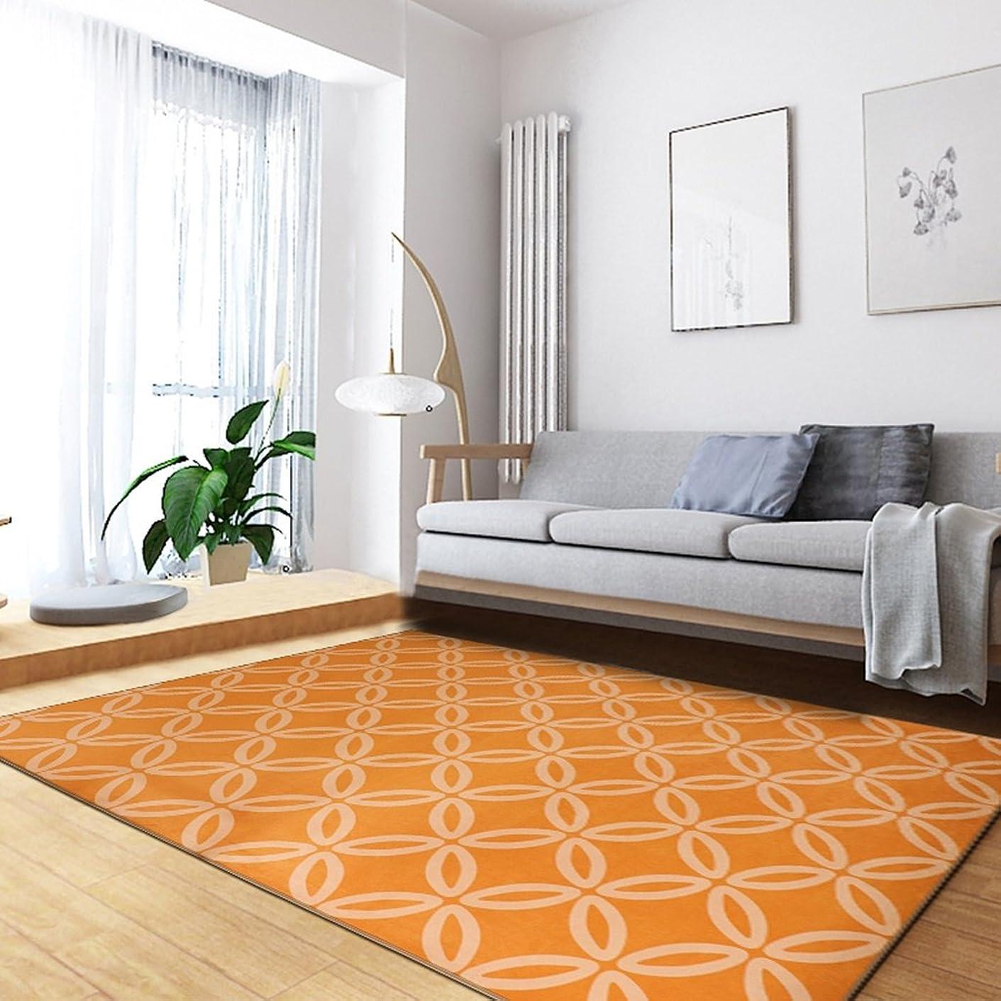 重力制限されたヒューバートハドソンモダンスタイルの幾何学模様ラグリビングルームソファベッドルームの長方形家庭用洗濯可能 ( 色 : オレンジ , サイズ さいず : 140*200cm )