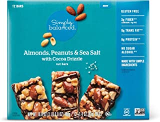 Almonds, Peanuts & Sea Salt with Cocoa Drizzle Nut Bars 1.4oz x 12 bars, pack of 1 (total 16.9oz)