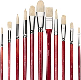 Fuumuui 11pcs Professional Paint Brush Set, 100% Natural Chungking Hog Bristle Artist Brushes for Acrylic and Oils Paintin...
