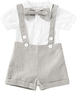 Baby Boy Clothes Gentleman Bowtie Romper and Overalls Suspenders Pants Wedding Tuxedo Outfits