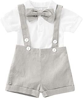 Baby Boys Clothes Gentleman Outfits Suits, Infant Long Sleeve Romper+Bib Pants+Bow Tie Clothing Set