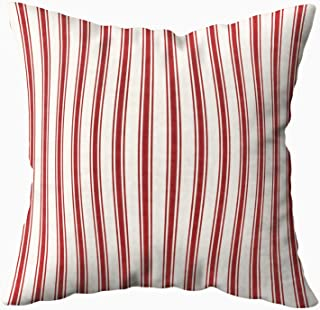 Musesh Classic Ticking Stripe Pattern red and Cream Cushions Case Throw Pillow Cover for Sofa Home Decorative Pillowslip Gift Ideas Household Pillowcase Zippered Pillow Covers 20x20Inch