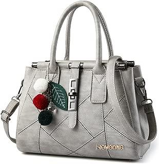 Nevenka PU Leather Handbag for Women Stitching Pattern Adjustable Shoulder Strap Tote Satchel