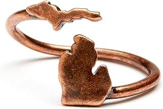 密歇根戒指,密歇根首饰 - 可调节密歇根戒指仿古铜 - 密歇根州首饰 - 密歇根州礼物