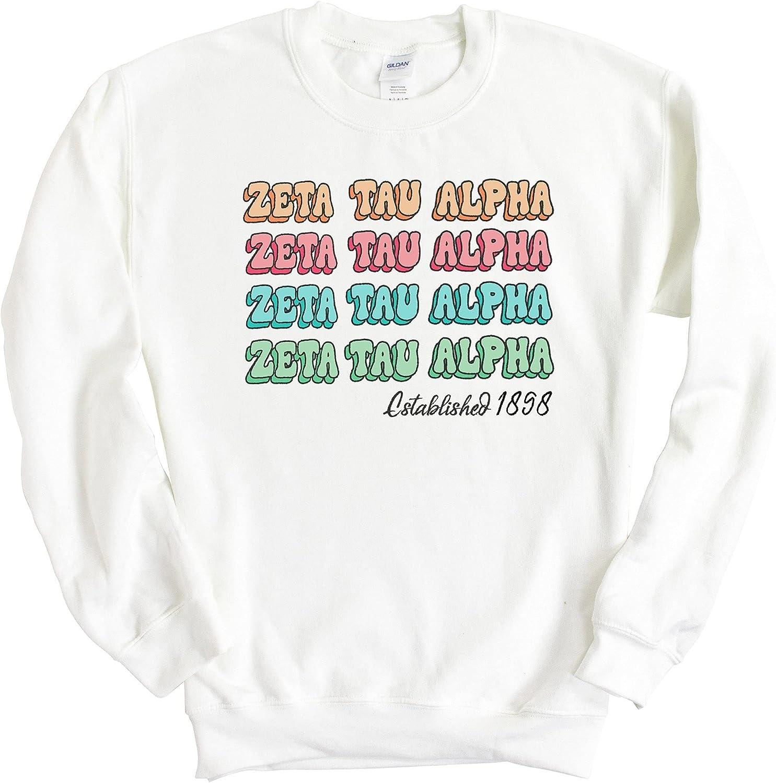 Zeta Tau Alpha Sweatshirt - Zeta (ZTA) Stencil Crewneck Sweatshirt- Sorority Big Little Gift Idea