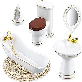 6 Pieces 1:12 Dollhouse Miniature Porcelain Bathroom Set Miniature Bathroom Furniture Toys Dollhouse Ceramic Toilet Basin ...