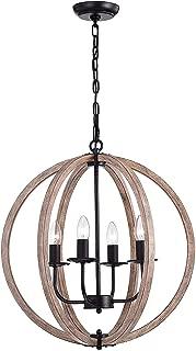 Benita Natural Wood 4-Light Orb Chandelier FD-3566-XNE