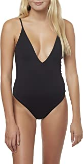 Women's Solid V-Neck Plunge One Piece Swimsuit