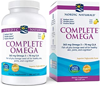 Nordic Naturals Complete Omega, Lemon Flavor - 565 mg Omega-3-180 Soft Gels - EPA & DHA with Added GLA - Healthy Skin & Jo...