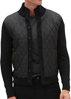 Banana Republic Mens Diamond Quilted Chest Button Up Sweater Jacket Black