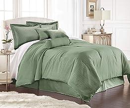 Chezmoi Collection Lex 7-Piece Hotel Style Dobby Striped Comforter Bedding Set-California King, Sage
