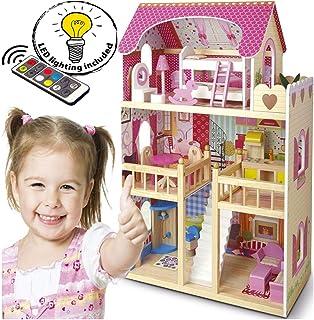 Leomark Casa de Muñecas de Madera - Bella Residencia - Equipo Completo con muñecas Excelente Calidad Accesorios adicion...