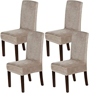 H.VERSAILTEX Velvet Dining Chair Covers Stretch Chair Covers for Dining Room Set of 4 Parson Chair Slipcovers Chair Protec...