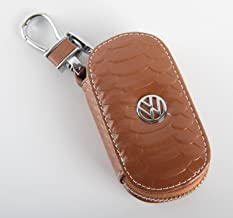 Key Chain Bag Oval Fish Scale Stripes Genuine Leather Ring Holder Case Car Auto Coin Universal Remote Smart Key Cover Fob Alarm Security Zipper Keychain Wallet Bag (Brown, Apply to for VW.Volkswagen)