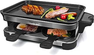 HengBo Appareil à Raclette 4 Personnes Multifonctionnel, Machine à Raclette à Température réglable, 4 Poêlons Antiadhésif...