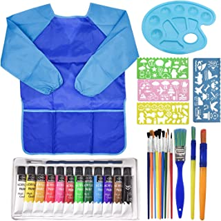 Acrylic Paint Set with Brushes and Palette, 30Pcs Kids Early Painting Learn Supplies, Inspire Wisdom and Imagination