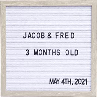 Sheffield Home Felt Letter Board with Distressed Wood Frame, 12x12 Inch Changeable Message Board with 148 White Letters & ...