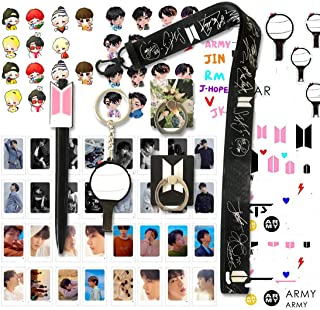 Fans Gifts Set for Army - 32Pcs Lomo Cards/2 Phone Ring Holder/ 1 Lanyard/ 1 Keychain/ 1 Pen/ 4 3D Stickers/ 2 Tattoo Stickers